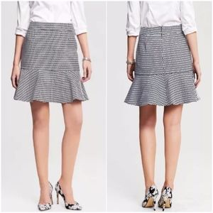 Banana Republic Blue White Chain Flounce Skirt